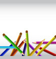 background template with pile of color pencils vector image