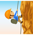 cartoon rock climber on vertical cliffside vector image