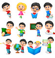 cartoon school children collection set vector image vector image