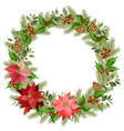 christmas wreath red poinsettia and leaves vector image vector image