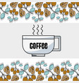 coffee and plant wiith leaves and grains vector image vector image