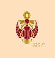 Creative emblem on Egyptian scarab with wings and vector image
