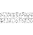 elegant vintage hearts doodle set vector image