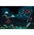 Fighting scene between magician and skeleton vector image
