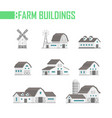 five farm buildings set of icons vector image vector image