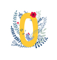 floral alphabet letter o vector image vector image