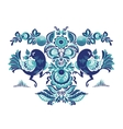 Floral pattern with two birds in Gorodets style vector image vector image