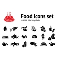 Food icon set Fish sweets mushrooms honey tea vector image vector image