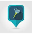 Garden rake flat pin map icon vector image