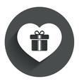 gift box sign icon love present symbol vector image vector image