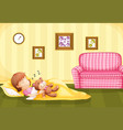 girl sleeping with teddybear on the floor vector image vector image
