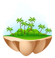 green palm tree island vector image vector image