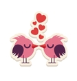Greeting card love birds kissing happy Valentine vector image vector image