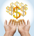 Hand receiving money or gold vector image vector image