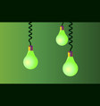 hanging on cords three light bulbs on a green vector image