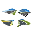 Highways and roads icons with landscape vector image vector image