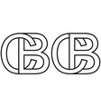 logo sign bc and cb icon sign two interlaced vector image vector image