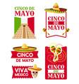 mexican cinco de mayo badge of sombrero maracas vector image vector image