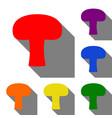 mushroom simple sign set of red orange yellow vector image