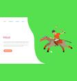 polo sports man riding horse hitting ball web vector image vector image