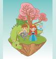 princess knight fairy and dragon design vector image