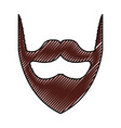 scribble vintage beard cartoon vector image