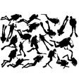 scuba diver silhouettes vector image vector image