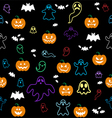 Seamless Halloween ghost bats pumpkins pattern o vector image