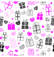 seamless pattern hearts and gift boxes vector image