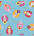 seamless swimming pool float rings pattern vector image