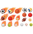 set balls in flame collection sports vector image