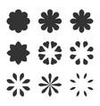 set black flower design symbols flowers vector image