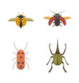 set of insects flat style design icons vector image vector image