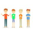 set of men character standing in casual ware vector image