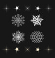 set of snowflakes and stars icons vector image vector image