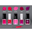Set with colorful realistic nail polish bottles vector image