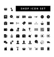 shop supermarket icon set with black color glyph vector image vector image