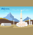 spaceship start industrial background with rocket vector image