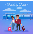 Train Travel Active People Girl with Baggage Man vector image vector image