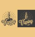 vintage vape monochrome emblems vector image vector image