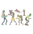 walking zombies set undead people and animals vector image