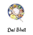 watercolor of dal bhat vector image vector image
