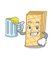 with juice waffle mascot cartoon style vector image