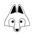 wolf head wild animal on black and white vector image