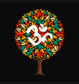 yoga tree concept with om calligraphy symbol vector image