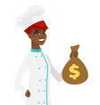 young african-american chef holding a money bag vector image vector image