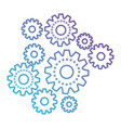 set gear machinery in color gradient silhouette vector image