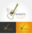 acoustic guitar logo vector image
