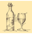 Hand drawn of a bottle of wine with a glass vector image