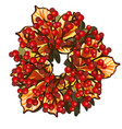 a decorative wreath dried leaves chestnut vector image